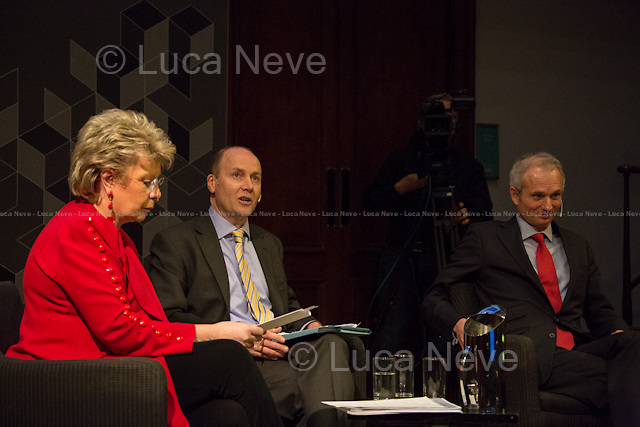 (From L to R) Viviane Reding, George Parker and David Lidington. <br />