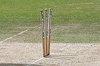 The stumps have been left at odd angles during Nottinghamshire CCC vs Essex CCC, Specsavers County Championship Division 1 Cricket at Trent Bridge on 1st July 2019
