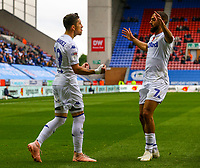 Leeds United's Pablo Hernandez celebrates scoring his side's equalising goal with Kemar Roofe<br /> <br /> Photographer Alex Dodd/CameraSport<br /> <br /> The EFL Sky Bet Championship - Wigan Athletic v Leeds United - Sunday 4th November 2018 - DW Stadium - Wigan<br /> <br /> World Copyright &copy; 2018 CameraSport. All rights reserved. 43 Linden Ave. Countesthorpe. Leicester. England. LE8 5PG - Tel: +44 (0) 116 277 4147 - admin@camerasport.com - www.camerasport.com