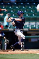 Charlotte Stone Crabs shortstop Jake Cronenworth (2) follows through on a swing during a game against the Bradenton Marauders on April 9, 2017 at LECOM Park in Bradenton, Florida.  Bradenton defeated Charlotte 5-0.  (Mike Janes/Four Seam Images)