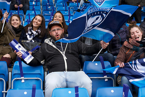 08.04.2016. AJ Bell Stadium, Salford, England. European Champions Cup. Sale versus Montpellier. A Montpellier fans waves his flag.