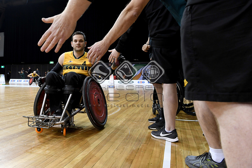 Jake Howe (AUS) vs Japan<br /> Australian Wheelchair Rugby Team<br /> 2018 IWRF WheelChair Rugby <br /> World Championship / Day 4<br /> Sydney  NSW Australia<br /> Wednesday 8th August 2018<br /> © Sport the library / Jeff Crow / APC