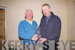 John Breen from Glenbeigh(left) receives the Presidents Prize from the President of the Glenbeigh Golf Society Pat Golden on Friday Night last at Ca?itins Bar, John had a score of 39 points at Skellig Bay on the 18th Sept.  The trophy boasts a new logo for Glenbeigh designed by international artist Pauline Bewick...Ref Jim