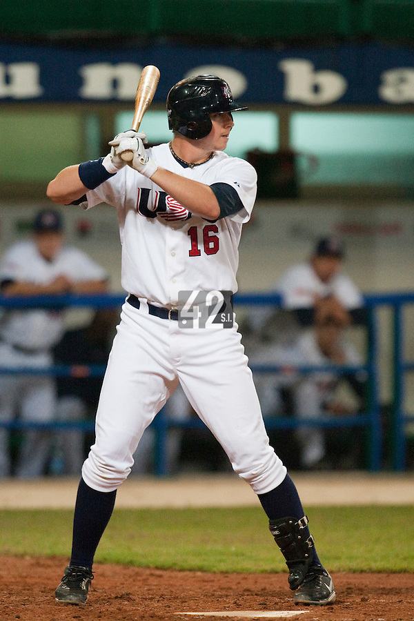 24 September 2009: Justin Smoak of Team USA is seen at bat during the 2009 Baseball World Cup final round match won 5-3 by Team USA over Cuba, in Nettuno, Italy.