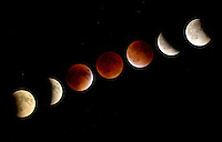 NWA Democrat-Gazette/BEN GOFF @NWABENGOFF<br /> A composite photo shows the progression of the total lunar eclipse over roughly three hours on Sunday Sept. 27, 2015 as seen from the campus of Northwest Arkansas Community College in Bentonville. The eclipse was the rare concurrence of a lunar eclipse or 'blood moon,' and lunar perigee, the point in the moon's elliptical orbit when it is closest to earth. In recent years the term 'supermoon' has been used to describe a perigee full moon. The last supermoon eclipse occurred in 1982 and the phenomena will not happen again until 2033.
