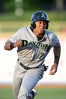 Dayton Dragons second baseman Avain Rachal (7) runs the bases during a game against the Lake County Captains on June 7, 2014 at Classic Park in Eastlake, Ohio.  Lake County defeated Dayton 4-3.  (Mike Janes/Four Seam Images)