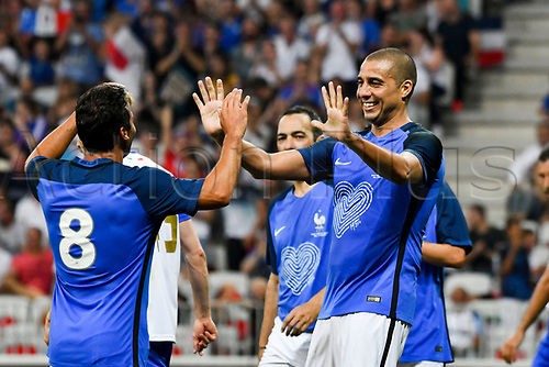 June 17th 2017; Allianz Riviera, Nice, France; Legends football international, France versus Italy;  David Trezeget (France) - Ludovic Giuly celebrate their goal