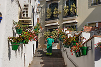Old town, watering plants, Estepona, Malaga Province, Spain, Espa&ntilde;a, 201810085218<br />