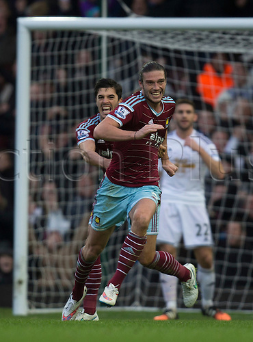07.12.2014.  London, England. Premier League. West Ham versus Swansea. West Ham United's Andy Carroll celebrates his second goal.