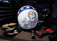 Jun 8, 2019; Topeka, KS, USA; Detailed view of the Evel Knievel themed helmet of NHRA top fuel driver Scott Palmer during qualifying for the Heartland Nationals at Heartland Motorsports Park. Mandatory Credit: Mark J. Rebilas-USA TODAY Sports