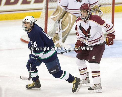 Brett Erickson (Endicott - 8), Ryan O'Leary (BC - 18) - The Boston College Eagles defeated the Endicott College Gulls 6-1 in a Northeast Collegiate Hockey Association (ACHA) matchup on Tuesday, November 3, 2009, at Conte Forum in Chestnut Hill, Massachusetts.