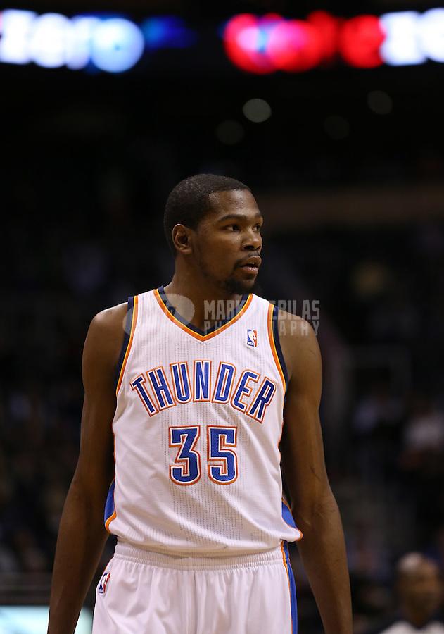 Feb. 10, 2013; Phoenix, AZ, USA: Oklahoma City Thunder power forward Kevin Durant against the Phoenix Suns at the US Airways Center. Mandatory Credit: Mark J. Rebilas-