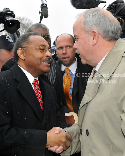 Washington, DC - January 6, 2009 -- United States Senator-designate Roland Burris (Democrat of Illinois) is greeted by United States Senate Sergeant-at-Arms Terry Gainer at the United States Capitol in Washington, DC on Tuesday, January 6, 2009.  Burris was escorted to the Office of the Secretary of the Senate to present his credentials and asked to be seated.  His request was denied..Credit: Ron Sachs / CNP.(RESTRICTION: NO New York or New Jersey Newspapers or newspapers within a 75 mile radius of New York City)