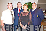 Jimmy Devane, Chairman Mastergeeha FC, Eoin Hand, FAI,  Maura Daly and Padraig Harnett, Kerry Schoolboys Soccer Secretary at the Mastergeeha 30th anniversary celebrations in the Killarney Oaks on Friday night.