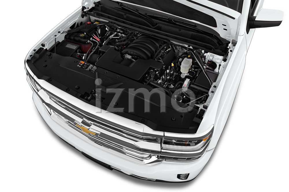 Car Stock 2018 Chevrolet Silverado-1500 High-Country-Crew 4 Door Pickup Engine  high angle detail view