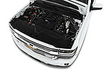 Car Stock 2017 Chevrolet Silverado-1500 High-Country-Crew 4 Door Pickup Engine  high angle detail view