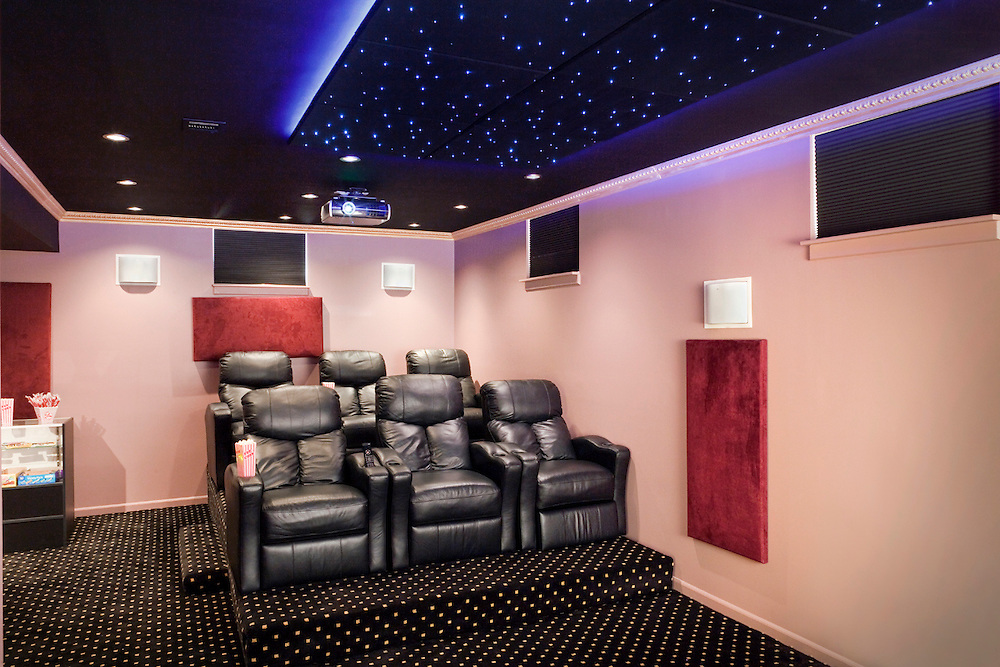 Leather Chair Home Theater With Star Ceiling