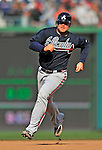 2 April 2011: Atlanta Braves catcher Brian McCann in action against the Washington Nationals at Nationals Park in Washington, District of Columbia. The Nationals defeated the Braves 6-3 in the second game of their season opening series. Mandatory Credit: Ed Wolfstein Photo
