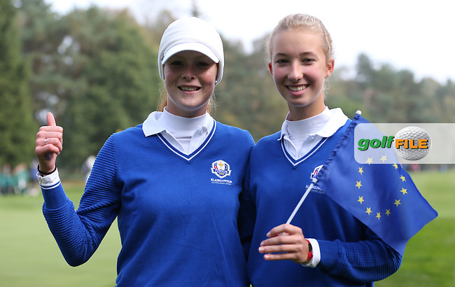 Europe Win - Match 4 action with Team Europe's Mathilda Cappeliez (FRA) and Alexandra Forsterling (GER) playing Amy Lee and Hannah O'Sullivan from the USA in the Foursomes of the 2014 JUNIOR RYDER CUP at the Blairgowrie Golf Club, Perthshire, Scotland. Picture:  David Lloyd / www.golffile.ie