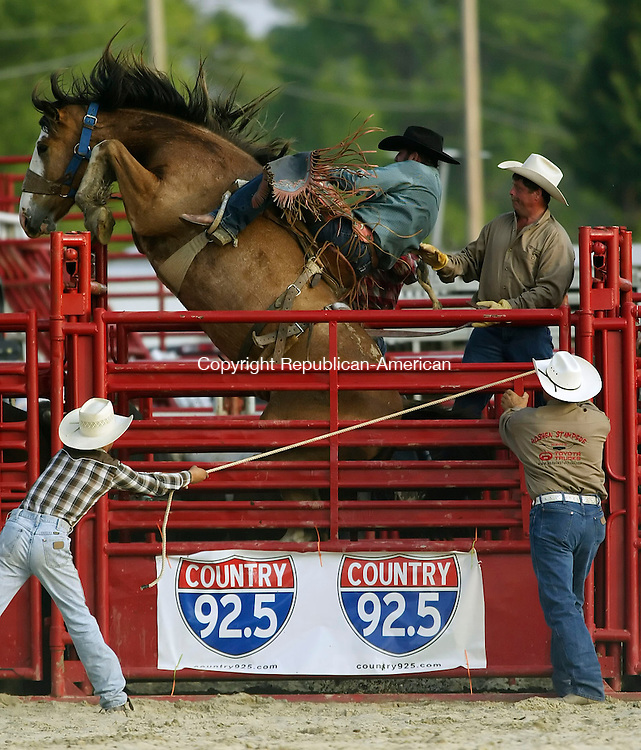 GOSHEN, CT 6/8/07- 060807BZ02- Justin Rhoads, of Slippery Rock, PA, hangs on as his horse tries to jump out of the chute before he competed in the saddle bronc<br /> during the secnd annual Goshen Stampede Friday.  <br /> Jamison C. Bazinet Republican-American