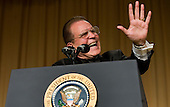 Washington, D.C. - April 21, 2007 - Comedian Rich Little impersonates former United States President George H. W. Bush at the White House Correspondents Association Dinner April 21, 2007 in Washington, DC.  Comedian Rich Little hosted and provided entertainment for President George W Bush, White House reporters, their guests and celebrities..Credit: Brendan Smialowski - Pool via CNP