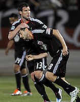 DC United midfielder Branko Boskovic (8) celebrates with teamate Chris Pontius one of the two goals that he score in the game.   The New England Revolution defeated DC United 3-2 in US Open Cup match , at the Maryland SoccerPlex, Tuesday  April 26, 2011.