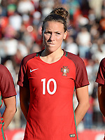 20171024 - PENAFIEL , PORTUGAL :  Portugese Ana Leite pictured during a women's soccer game between Portugal and the Belgian Red Flames , on tuesday 24 October 2017 at Estádio Municipal 25 de Abril in Penafiel. This is the third game for the  Red Flames during the Worldcup 2019 France qualification in group 6. PHOTO SPORTPIX.BE | DAVID CATRY