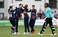 Daniel Bell-Drummond (3rd L) of Kent is congratulated after bowling Mark Stoneman (R) during Kent Spitfires vs Surrey, Vitality Blast T20 Cricket at the St Lawrence Ground on 23rd August 2019