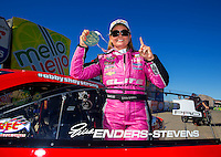 Nov 1, 2015; Las Vegas, NV, USA; NHRA pro stock driver Erica Enders-Stevens celebrates after clinching the 2015 pro stock world championship during eliminations for the Toyota Nationals at The Strip at Las Vegas Motor Speedway. Mandatory Credit: Mark J. Rebilas-USA TODAY Sports