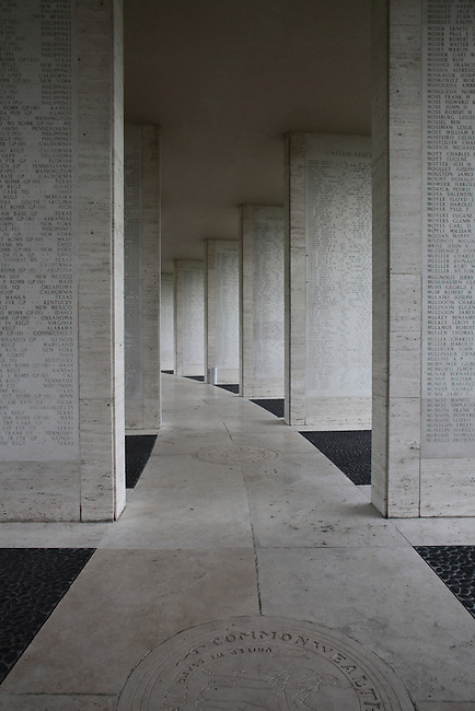The names of 36,285 U.S. and Allied servicemen missing from the Philippines and New Guinea campaigns in World War II are inscribed on limestone piers in one of two hemicycles at the U.S. War Cemetery and Memorial in Manila, Philippines. June 10, 2011.