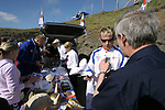 Faroe Islands 0 Scotland 2, 06/06/2007. Svangaskard, Toftir, Euro 2008 Qualifying. Fans buying Faroese team souvenirs inside the stadium before the Euro 2008 group B qualifying match at the Svangaskard stadium in Toftir between the Faroe Islands and Scotland. The visitors won the match by 2 goals to nil to stay in contention for a place at the European football championships which were to be held in Switzerland and Austria in the Summer of 2008. It was the first time Scotland had won in the Faroes, the previous two matches ended in draws. Photo by Colin McPherson.