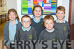 Pupils Ellen Moriarty, Fiana O'Sullivan, Janelle O'Sullivan, Daragh Coffey and Fionn Kennedy at the opening the Cullina NS extension class room in Beaufort on Friday