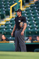Umpire Derek Gonzales during a game between the Jupiter Hammerheads and Bradenton Marauders on August 4, 2015 at McKechnie Field in Bradenton, Florida.  Jupiter defeated Bradenton 9-3.  (Mike Janes/Four Seam Images)