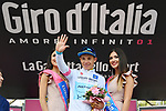 Miguel Angel Lopez (Col) Astana Pro Team retains the young riders Maglia Bianca at the end of Stage 19 of the 2018 Giro d'Italia, running 185km from Venaria Reale to Bardonecchia featuring the Cima Coppi of this Giro, the highest climb on the Colle delle Finestre with its gravel roads, before finishing on the final climb of the Jafferau, Italy. 25th May 2018.<br /> Picture: LaPresse/Gian Mattia D'Alberto | Cyclefile<br /> <br /> <br /> All photos usage must carry mandatory copyright credit (&copy; Cyclefile | LaPresse/Gian Mattia D'Alberto)