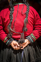 Details of Quechua woman's clothes at Chinchero Town Sunday Market, Cusco Region, Peru, South America