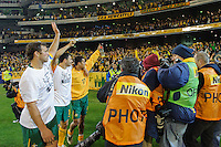 MELBOURNE, 17 JUNE 2009 - Australian players greet their fans after their win in an Asia group 1 qualification match for the FIFA 2010 World Cup between Australia and Japan at the MCG, Melbourne, Australia. 17 June 2009. Photo Sydney Low. This photograph is NOT FOR SALE.