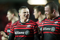 20121216 Copyright onEdition 2012©.Free for editorial use image, please credit: onEdition..Chris Ashton of Saracens (left) celebrates with Matt Stevens of Saracens winning the Heineken Cup Round 4 match between Saracens and Munster Rugby at Vicarage Road on Sunday 16th December 2012 (Photo by Rob Munro)..For press contacts contact: Sam Feasey at brandRapport on M: +44 (0)7717 757114 E: SFeasey@brand-rapport.com..If you require a higher resolution image or you have any other onEdition photographic enquiries, please contact onEdition on 0845 900 2 900 or email info@onEdition.com.This image is copyright onEdition 2012©..This image has been supplied by onEdition and must be credited onEdition. The author is asserting his full Moral rights in relation to the publication of this image. Rights for onward transmission of any image or file is not granted or implied. Changing or deleting Copyright information is illegal as specified in the Copyright, Design and Patents Act 1988. If you are in any way unsure of your right to publish this image please contact onEdition on 0845 900 2 900 or email info@onEdition.com