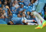 Sergio Aguero of Manchester City signals for help during the first half during the UEFA Champions League Group C match at The Etihad Stadium, Manchester. Picture date: September 14th, 2016. Pic Simon Bellis/Sportimage
