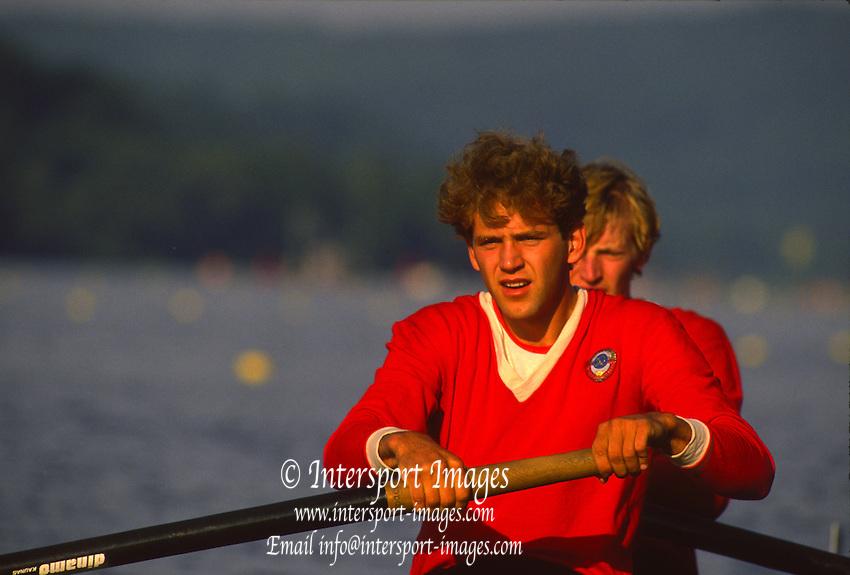 Essen, GERMANY.  RUS M2-. Men's pair. Essen International Regatta, held at the Essen Baldeneysee [Dammed Lake] 1988. [Mandatory Credit Peter Spurrier/Intersport Images] 1988 Essen International Regatta, GERMANY