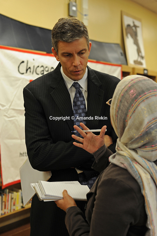 "Arne Duncan, the Chief Executive Officer of the Chicago Public Schools, CPS, after a press conference for Chicago Mayor Richard M. Daley's ""Principal for a Day"" program of corporate sponsorship and volunteerism in the CPS at Talcott Elementary School, 1840 W. Ohio St., in Chicago, Illinois on October 17, 2008."