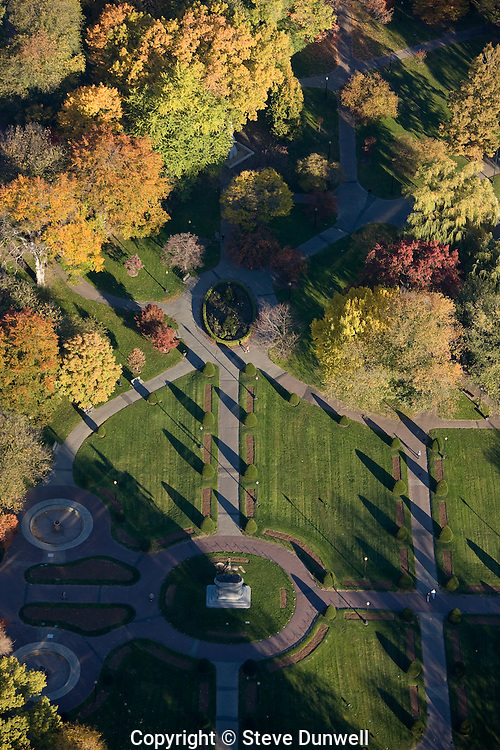 aerial view, Public Garden, autumn, Boston, MA