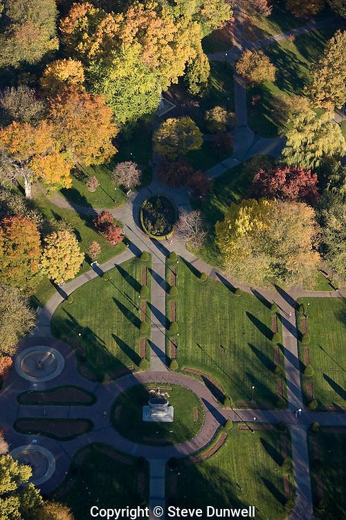 aerial view, Public Garden, autumn, Boston, MA