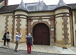 VMI Vincentian Heritage Tour: Members of the VMI visit Joigny France Thursday, June 30, 2016, site of the hotel built by Louis Guidotti where St. Vincent de Paul stayed while he tutored the children of Philippe Emmanuel de Gondi. (DePaul University/Jamie Moncrief)
