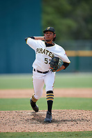 GCL Pirates pitcher Yandy Vega (57) during a Gulf Coast League game against the GCL Red Sox on August 1, 2019 at Pirate City in Bradenton, Florida.  GCL Red Sox defeated the GCL Pirates 11-3.  (Mike Janes/Four Seam Images)