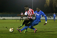 Jonathan Mbamarah of Redbridge and Jeff Cobblah of Clapton during Redbridge vs Clapton, Essex Senior League Football at Oakside Stadium on 14th November 2017