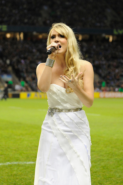 Camilla Kerslake, the girlfriend of Harlequins' captain Chris Robshaw, entertains fans before the Aviva Premiership match between Harlequins and Saracens at Twickenham on Tuesday 27 December 2011 (Photo by Rob Munro)