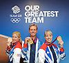 Olympics London 2012 <br /> Team GB <br /> Dessage Gold Medalists <br /> Equestrian <br /> Press Conference , Team GB House, London, Stratford<br /> 8th August 2012 <br /> <br /> Charlotte Dujardin<br /> Carl Hester<br /> Laura Bechtolsheimer <br />  <br /> <br /> <br /> Photograph by Elliott Franks
