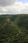 Israel, Upper Galilee, the Crusader Monfort Fortress overlooking Wadi Kziv, a view from Park Goren