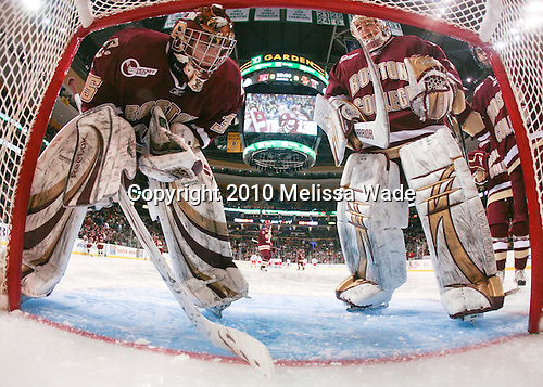 Parker Milner (BC - 35), John Muse (BC - 1) - The Boston College Eagles defeated the Boston University Terriers 4-3 on Monday, February 8, 2010, at the TD Garden in Boston, Massachusetts, to take the 2010 Beanpot.