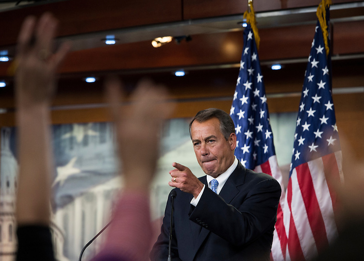 UNITED STATES - NOVEMBER 9: Speaker of the House John Boehner, R-Ohio, speaks during his on camera press briefing in the U.S. Capitol to address the fiscal cliff on Friday, Nov. 9, 2012. (Photo By Bill Clark/CQ Roll Call)